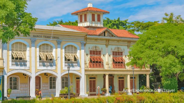 Historic buildings 19th century reconstruction at Guayaquil Parque Historic Ecuador