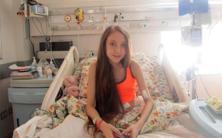 Valentina Maureira in the hospital in Santiago