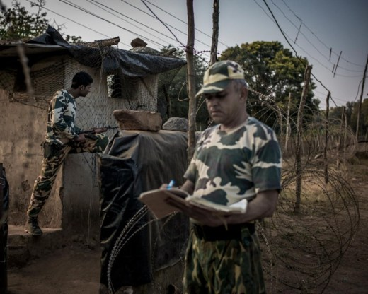 Central Reserve Police Force troops on duty in the southern Bastar region of Chhattisgarh.