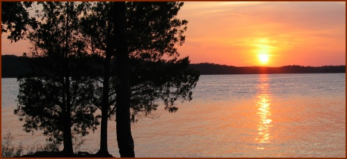 Sunset Over Lake of the Arbuckles -- Public Domain Photo Courtesy of National Park Service