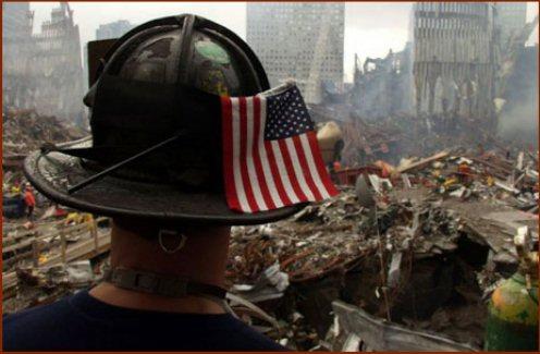 Firefighter & Flag