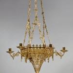 Brass Gothic-Revival Chandelier