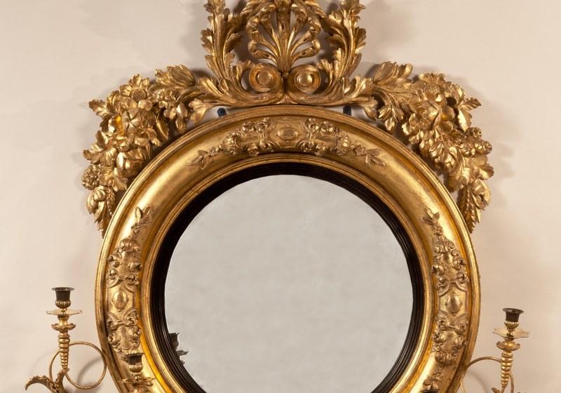 Bull's-Eye Convex Girandole Mirror