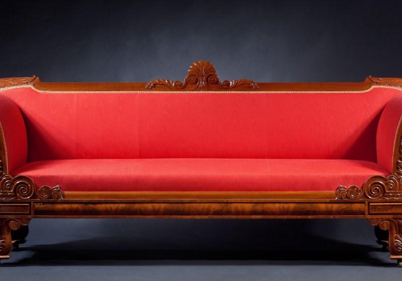 Carved Mahogany Grecian Sofa