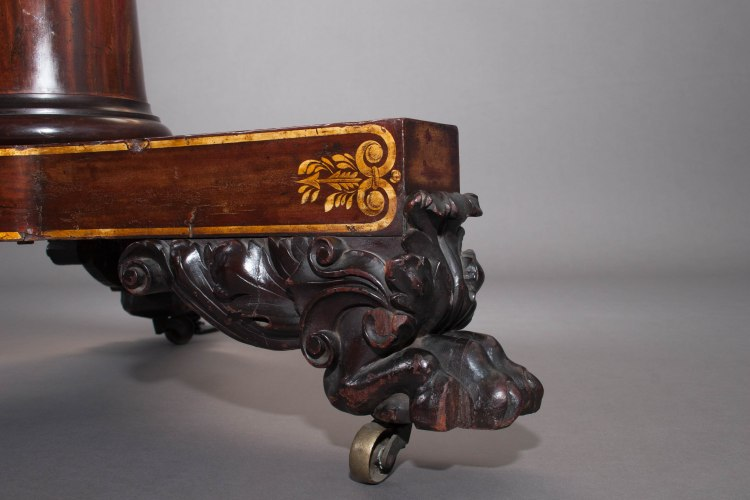 Classical Center Table detail of carved foot.