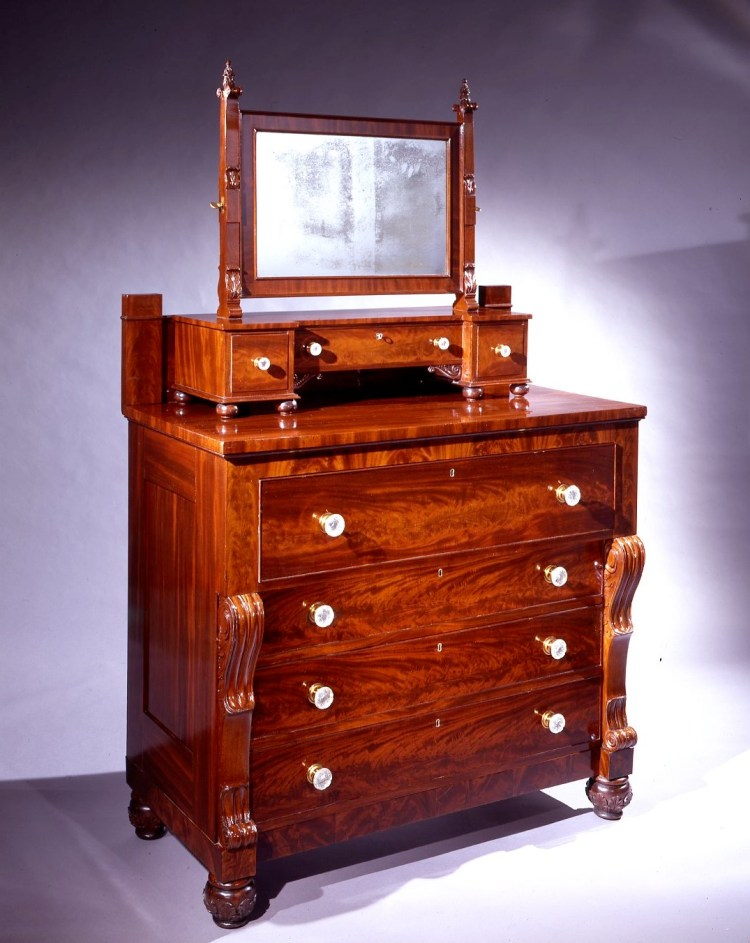Bureau with associated shaving mirror