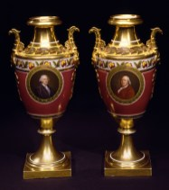 Pair of Paris Porcelain Urns with portraits of Washington and Franklin