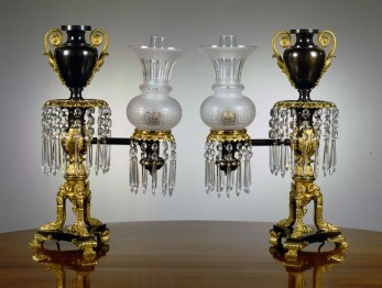 Pair of Lacquered Brass Argand Lamps