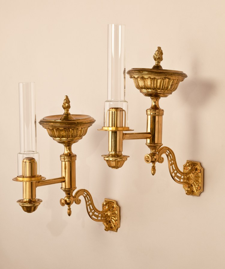 Brass Argand Wall Sconces