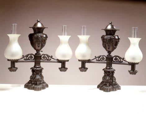Pair of Patinated Bronze Double-Light Argand Lamps