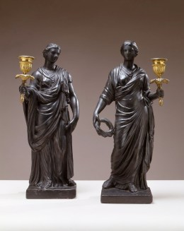 Pair of Figural Plaster Candlesticks by Richard Shout