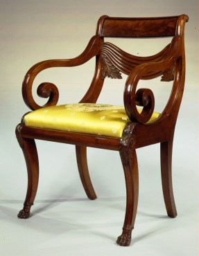 Important Carved Mahogany Arm Chair