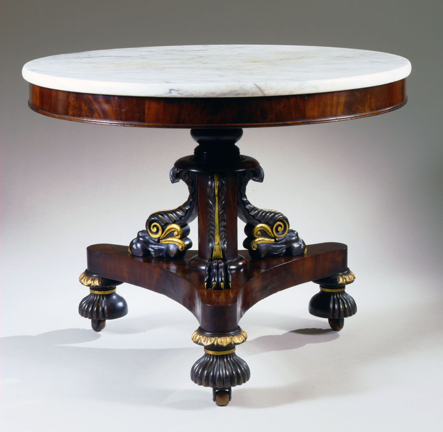 T-C-002271 Cook & Parkin Labelled Marble-Top Center Table
