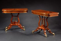 Pair of Brass Mounted Lyre-base Card Tables