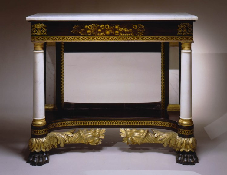 Gilt-Stenciled and Paint decorated Classical Pier Table