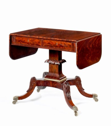 Brass-Mounted Mahogany Sofa Table by Isaac Vose