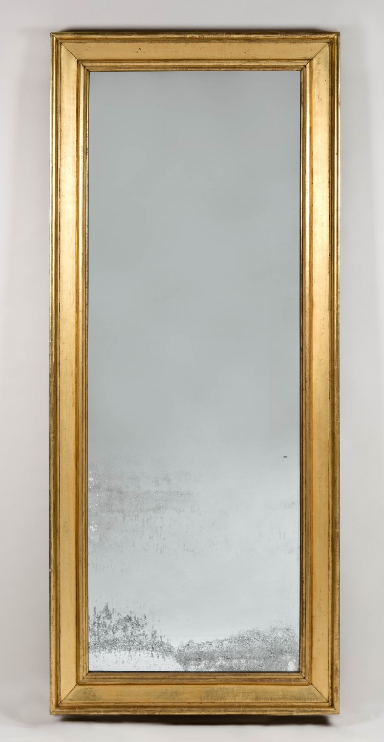 """Labeled New York Pier Mirror by August F. Cammeyer: The rectangular molded giltwood frame holds a single period mirror plate.  The back boards bearing a paper label: Augustus F. Cammeyer,/ Looking Glass/ MANUFACTURER,/ No. 148 William-street/  Opposite the North Church, between Fulton & Ann sts./ NEW YORK/  Paintings, Prints, &c. framed and/ glazed. 33.5""""  x 76"""""""