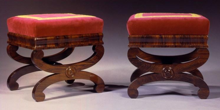 Pair of Rosewood Curule-base Footstools