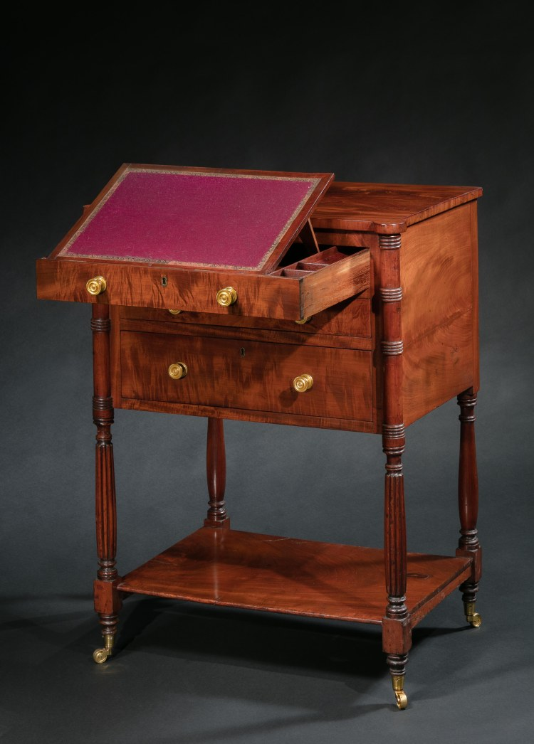 Federal Occasional Table by Duncan Phyfe, seen with top drawer open and adjustable writing surface tilted up.