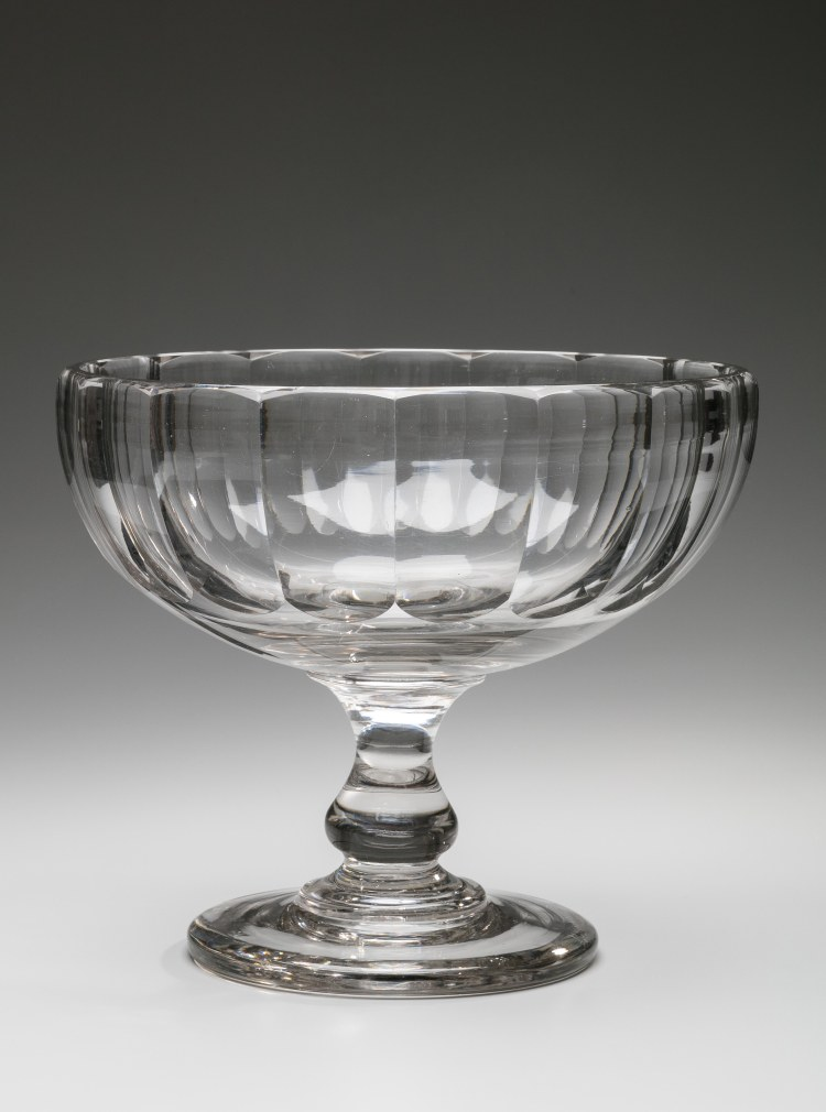 "Colorless Cut Glass Compote, with cut facets and a baluster stem on a footed base. Pittsburgh H: 9""  Diameter: 10¾"""