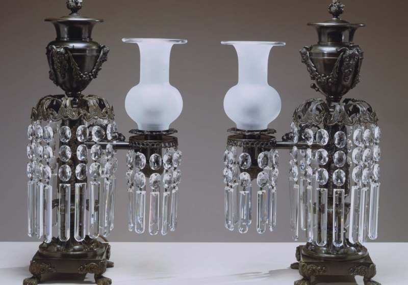 Pair of Bronze Argand Lamps