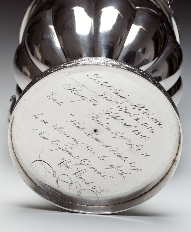 "Coin Silver Presentation Pitcher by Farnum & Ward, Detail of base with engraved inscription: Elected Ensign Sep. 22, 1812./ Lieu. April 2, 1814/ Resign'd Sep. 26th 1816./ Boston Sep. 26th 1816/ Voted. ""That Lemuel Blake Esq./ be an Honorary Member of the/ New England Guards.""/Wm. Ward OS."