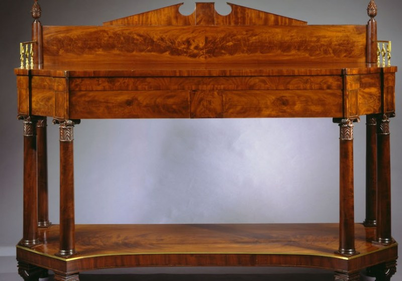 Classical Brass-Inlaid Carved Mahogany Sideboard