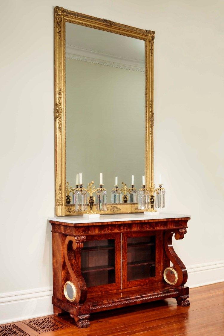 Restauration Sideboard or Commode showing the commode in situ beneath a massive gilded pier mirror