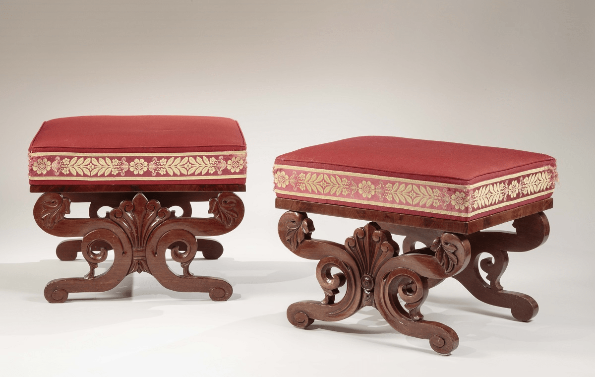 "Two Classical Carved Mahogany Stools or ""Tabourettes"""