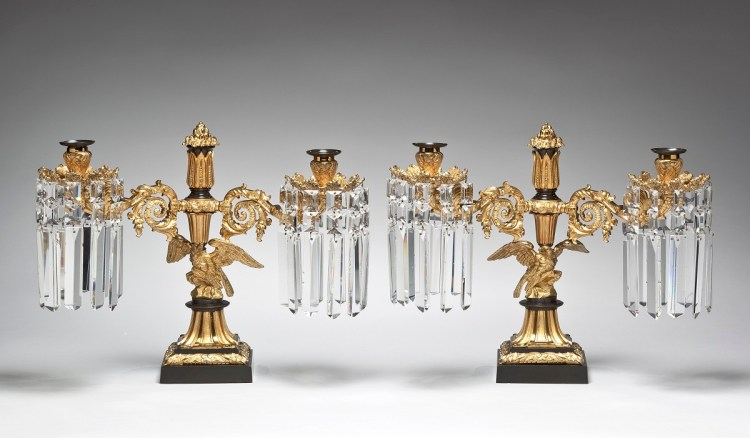 Pair of Lacquered and Patinated Brass Candelabra with Eagle Bases