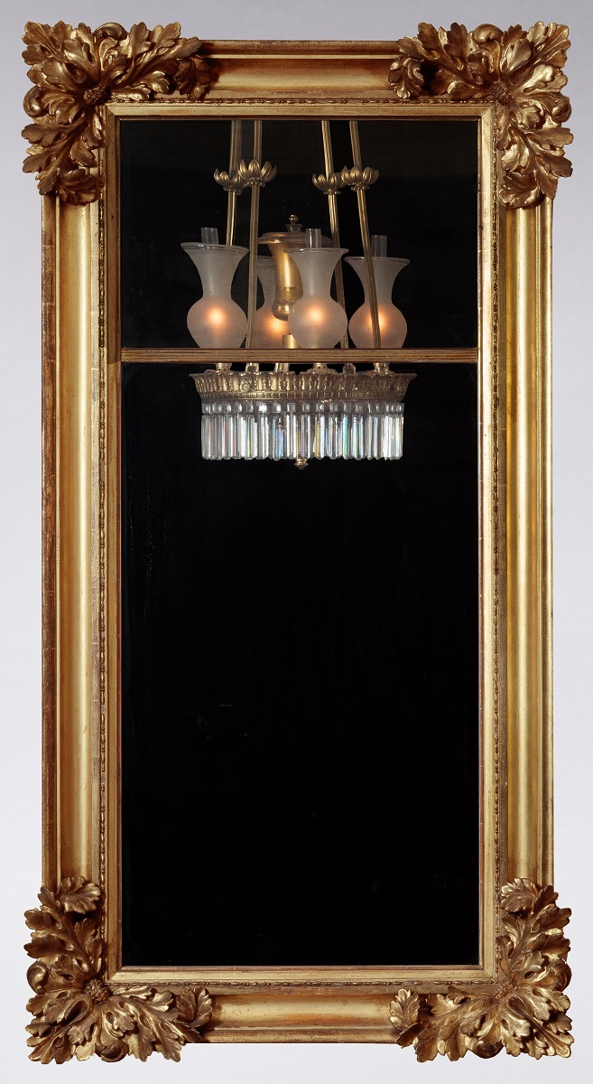"Carved Gold-Leaf Pier-Mirror Attributed to John H. Williams New York, c. 1828-1832, 57.5"" x 30"""