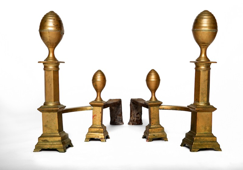 Pair of Brass Andirons with impressed mark: J. DAVIS/ BOSTON