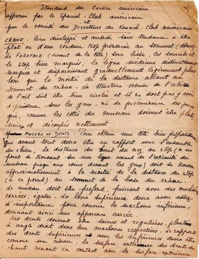 Standard Cocker Américain traduit de la main de Mme Françoise Firminhac - Courtoisie de M. Jean-Paul Citerne.