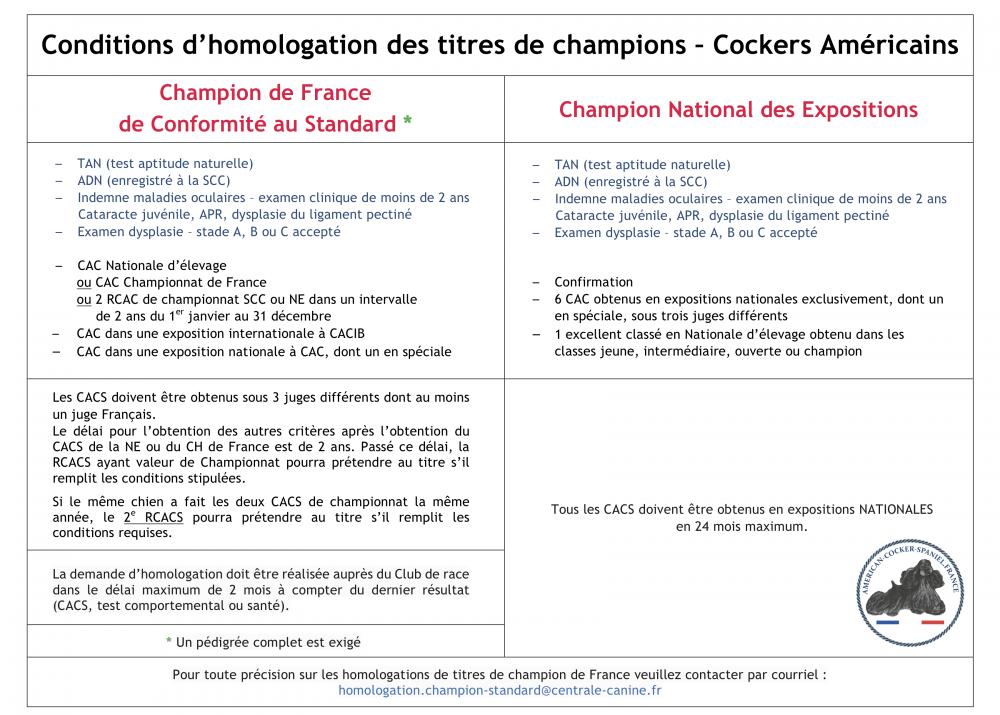 Conditions d'homologation des titres de champions Cockers Américains 2018