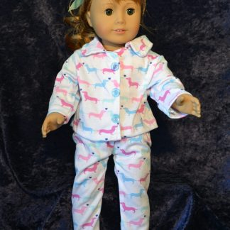 Dachshund Print Classic PJ for 18 Inch Doll
