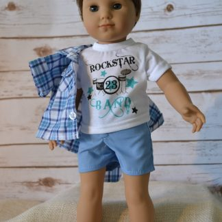 Blue Plaid Shorts set