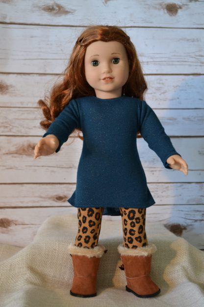 Teal Glitter Tunic-Cheetah Leggings