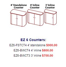 ez6 counters and prices