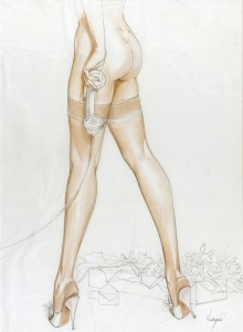 Nylon-Stockings-and-Flowers-From-Her-Admirer-c.-1948-1950-mixed-media-on-paper-20.25-x-15-in