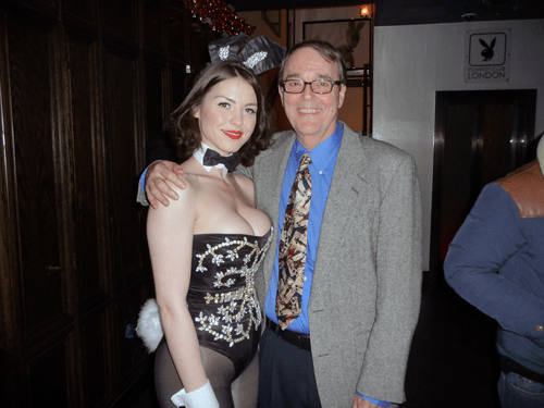 Bunny Sara and Steve Bourie at Playboy Club in London
