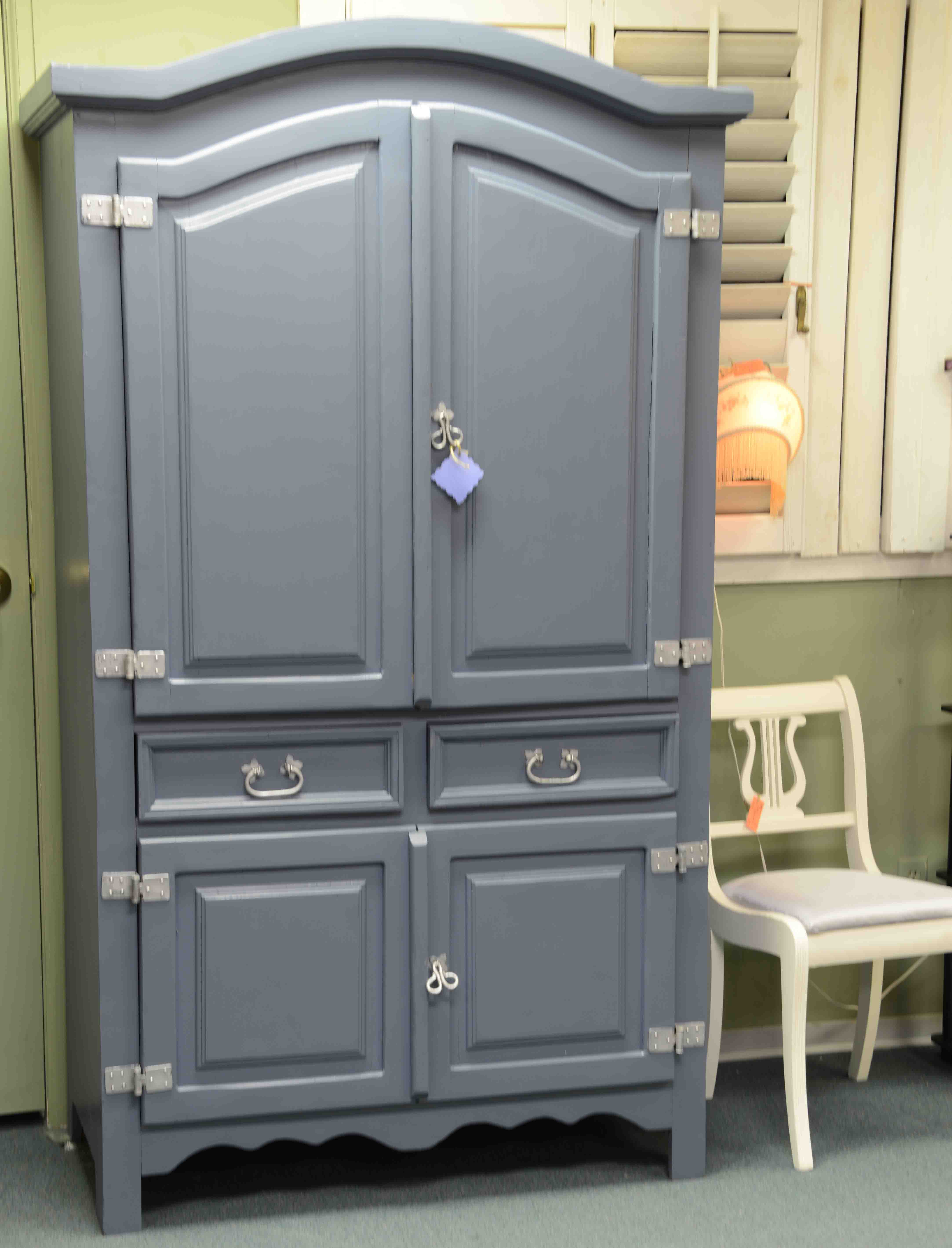 This Upcycled Blue Armoire has been nicely refinished with hand rubbed detail. Featured in Booth E24, it can be your for just$275.
