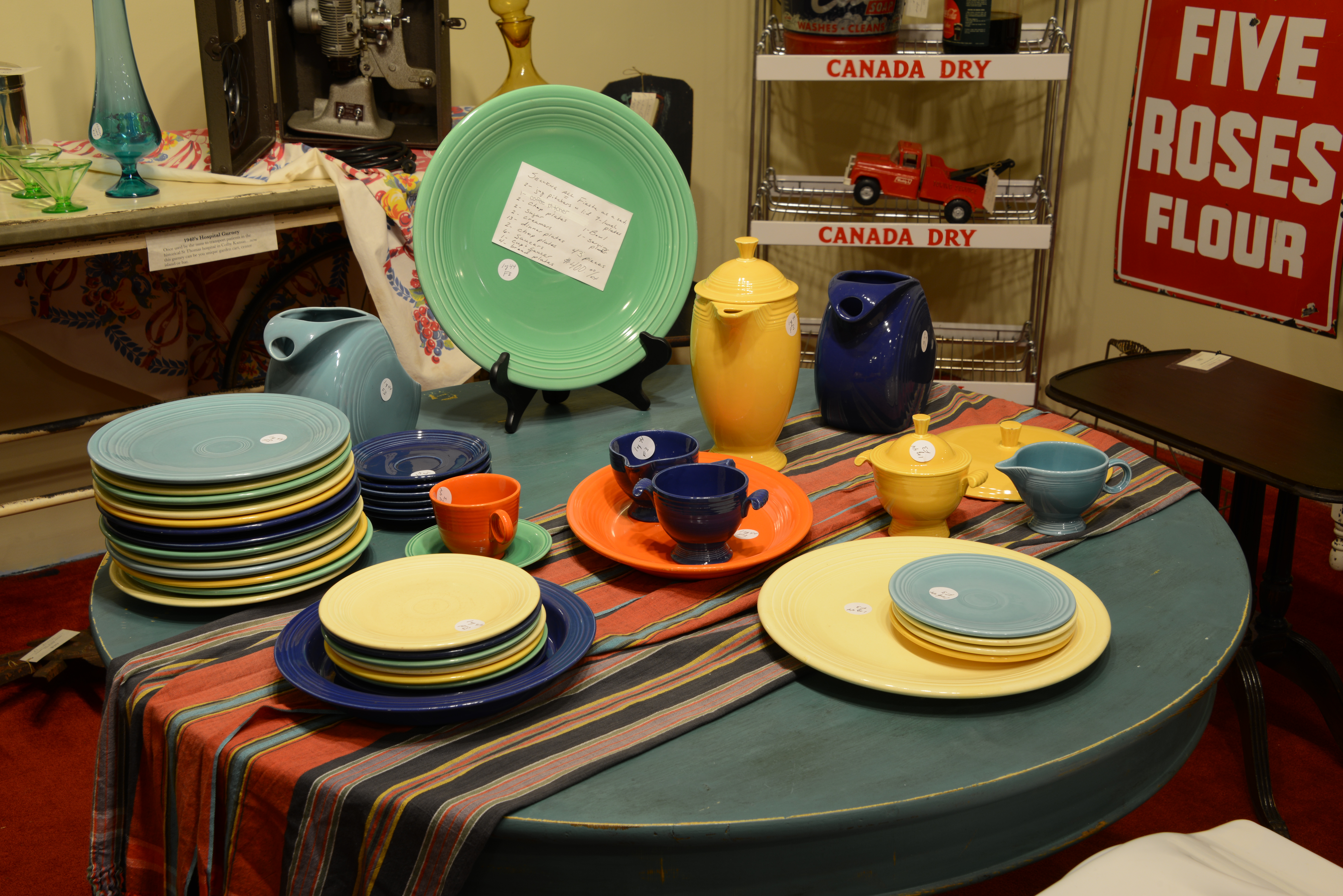 This Vintage Fiestaware 43 piece set includes everything shown. Just $400 for this entire collection of vintage color.