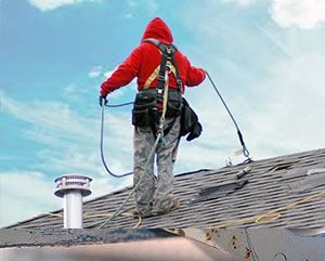 fall protection man on roof