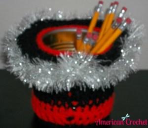 Black Red n Silver Pencil holder Large