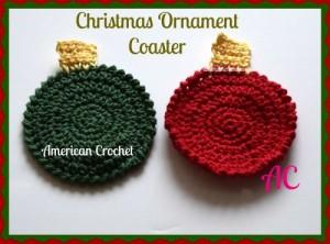Christmas Ornament Coaster | Free Crochet Pattern | American Crochet @americancrochet.com #freecrochetpattern