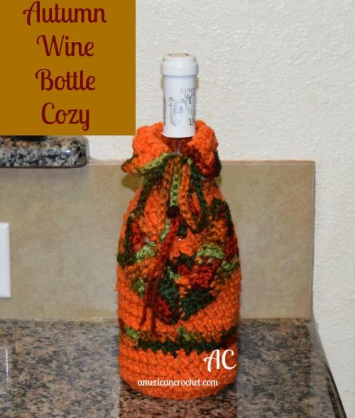 Autumn Wine Bottle Cozy American Crochet Free Crochet Pattern
