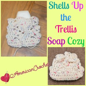 Shells Up the Trellis Soap Cozy free crochet pattern