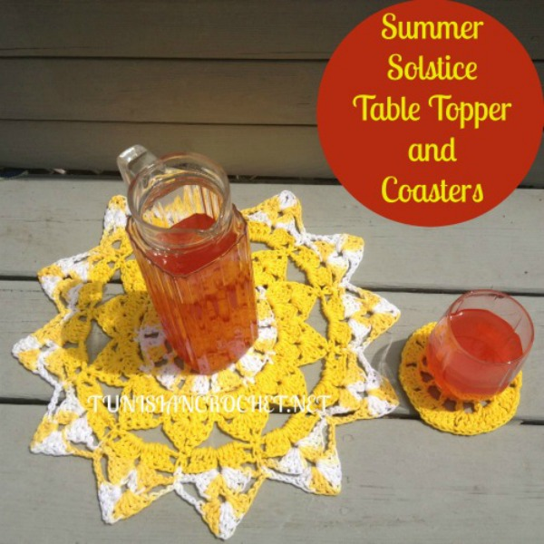 Summer Solstice Table Topper and Coasters | Free Crochet Pattern | American Crochet @americancrochet.com @tunisiancrochetchick.net #contributorpost #freecrochetpattern
