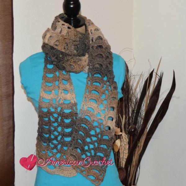 Rocky Road Lace Scarf   Crochet Pattern   American Crochet @americancrochet.com #crochetpattern