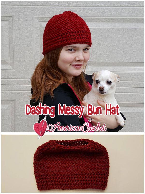 Dashing Messy Bun Hat | Crochet Pattern | American Crochet @americancrochet.com #crochetpattern